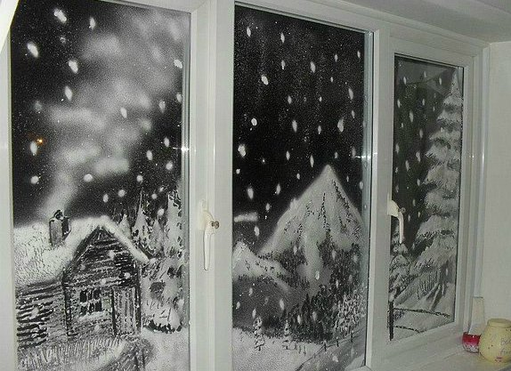 Новогодние картинки на окнах своими руками
